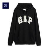 Gap男裝 簡約Logo印花長袖套頭連帽衫 490386-純正黑