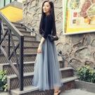 2020春季新款網紗裙半身長裙a字百褶裙高腰仙女裙子秋冬季中長款  一米陽光