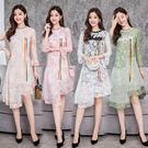 VK精品服飾 韓系優雅修身氣質字母喇叭袖蕾絲長袖洋裝