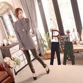長褲--纖細修長飾拉鍊設計素面窄管長褲(黑.綠M-3L)-P87眼圈熊中大尺碼