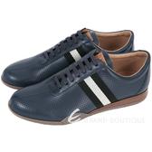 BALLY FRENZ 經典織帶拼接穿孔牛皮綁帶休閒鞋(深藍色) 1530348-34