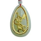 金鑲玉項鍊 和闐玉吊墜-花開富貴生日情人節禮物男女飾品73gf61【時尚巴黎】