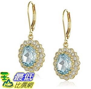 [美國直購]  18k Gold Rhodium Plated Sterling Silver Two-Tone Oval Sky Blue Topaz Lever Back Dangle Earrings 耳環