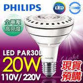 【有燈氏】★飛利浦★E27 20W LED PAR30L 聚光燈 燈泡 白光 黃光 現貨 保固1年