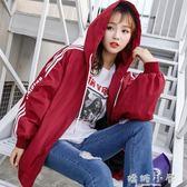外套2018新款女春秋裝韓版寬鬆大碼bf學生字母原宿夾克連帽棒球服 嬌糖小屋
