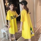 春夏韓版寬鬆字母印花卡通圖案大碼連身裙純棉中長款短袖t恤裙女新年交換禮物