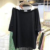 2021新款韓版寬鬆純棉網紅假兩件一字肩上衣女夏性感半袖t恤ins潮『潮流世家』