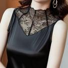 半高領背心女打底衫鏤空蕾絲西裝職業內搭吊帶夏絲緞面外穿上衣 快速出貨