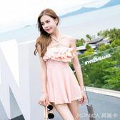 泳衣女士保守小胸鋼托聚攏遮肚顯瘦韓國溫泉連體裙式游泳裝 莫妮卡小屋
