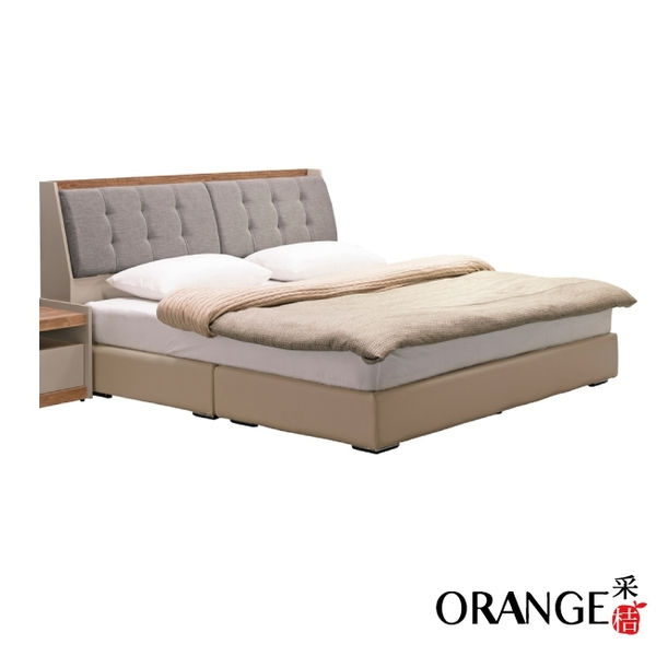 【采桔家居】拿索 現代6尺亞麻布雙人加大床台組合(床頭箱+皮革床底+不含床墊)