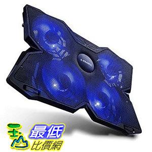 【日本代購】E - Prance 筆記型電腦散熱墊散熱支架 USB 介面 適用於17英寸到4風扇 藍色