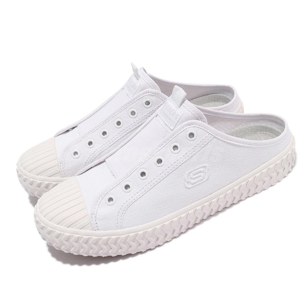 Skechers 休閒鞋 Street Trax-Cul De Sac 女鞋 白 全白 帆布 穆勒鞋 【ACS】 155386WHT