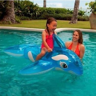 INTEX兒童遊泳圈海豚鯊魚充氣座艇寶寶水上玩具藍鯨款