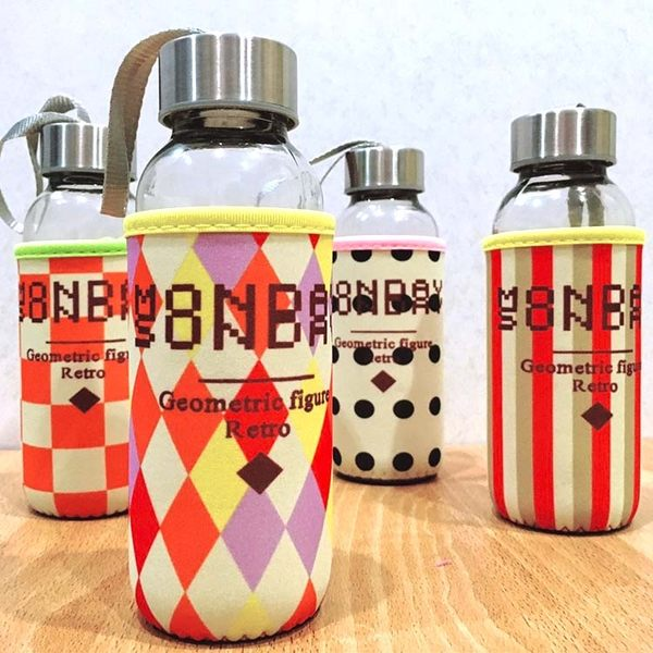 水杯【KCG110】復古圖騰杯套玻璃水杯300ml 水瓶 瓶子 咖啡杯 隨行杯 水壺-123ok