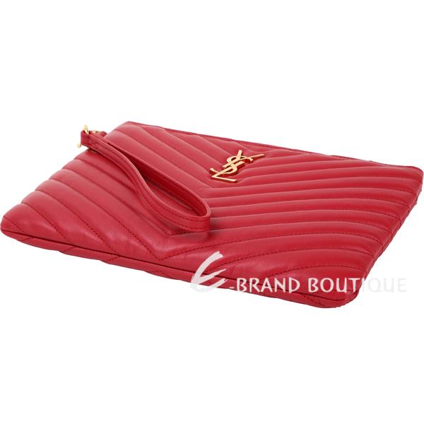YSL Saint Laurent MONOGRAM 小型 金字絎縫小牛皮手拿包(紅色) 1930073-54