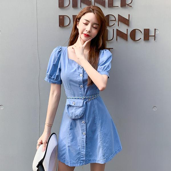 超殺29折 韓國風送腰包復古泡泡袖方領收腰短袖洋裝