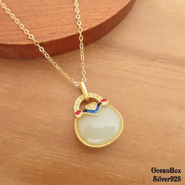 §海洋盒子§和闐青玉景泰藍包包造型925純銀鍍金吊墜.單墜