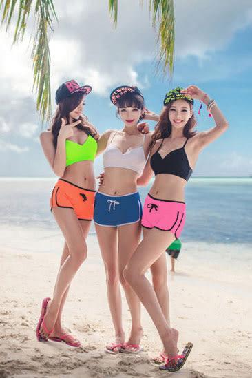 比基尼bikini短褲小可愛套裝 艾爾莎 夏日海洋繽紛亮色比基尼泳衣+四角抽繩泳褲【TAJ5024】