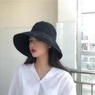 黑色漁夫帽女遮陽帽子夏韓版潮百搭大沿太陽帽防曬遮臉日系大帽檐一米陽光