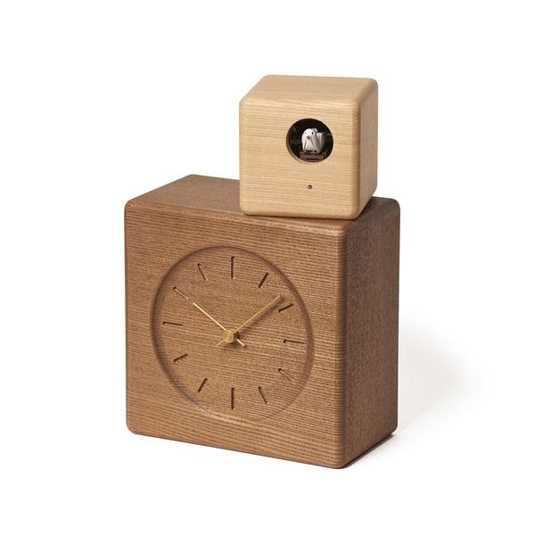 日本 Lemnos Cubist Cucu Wood Clock 和風方盒系列 布穀鳥報時 咕咕鐘(深木色鐘面 - 淺木色鳥屋)