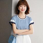 短袖襯衫 夏季短袖t恤女裝夏裝2021年新款歐洲站設計感小眾短款上衣雪紡衫 俏girl