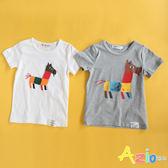 童裝 上衣 童趣小馬印花短袖T恤(共2色) Azio Kids 美國派 童裝