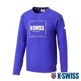 K-SWISS Square Logo Sweatshirt刷毛圓領上衣-男-藍