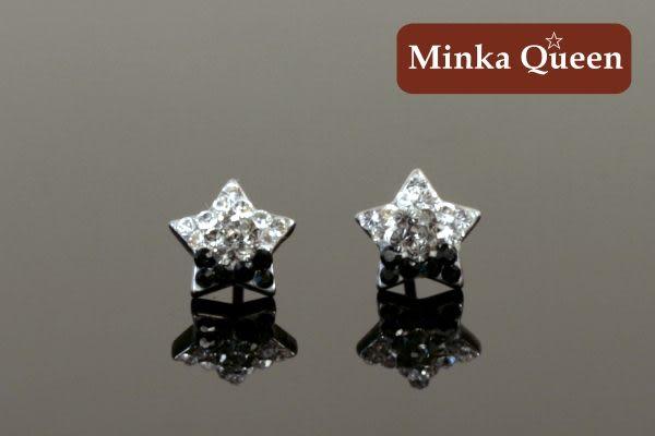 德國鈦鋼 黑色漸層閃亮滿鑽星造型精緻水鑽抗敏耳環(一對)(9 mm)