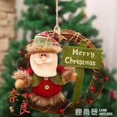 聖誕節裝飾品聖誕花環門飾門掛飾藤圈聖誕老人聖誕樹場景布置用品  鹿角巷