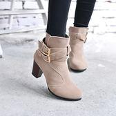 丁果、大尺碼女鞋35-42►時尚雙扣帶高跟短靴*3色全新現貨供應