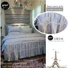 法式高級天絲床罩組(5*6.2尺)【法國玫瑰】質感灰☆六件式/浪漫典藏系列