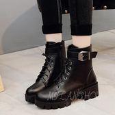 韓版馬丁靴 靴子 中跟粗跟系帶皮帶扣機車靴