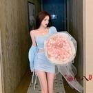 兩件式洋裝 夏季新款洋氣小個子性感露腰連身裙女薄款針織開衫防曬衣兩件套裝 VK2995