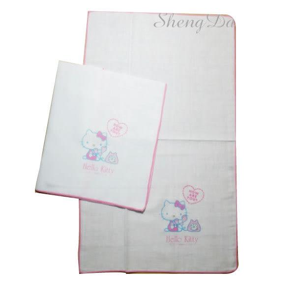 Hello Kitty凱蒂貓印花紗布澡巾-2入裝 100%純棉製,適合當口水巾.澡巾使用