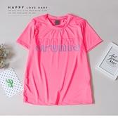 大童 漸層字母螢光粉運動短T 春夏童裝 女童棉T 女童上衣 女童短袖 女童T恤