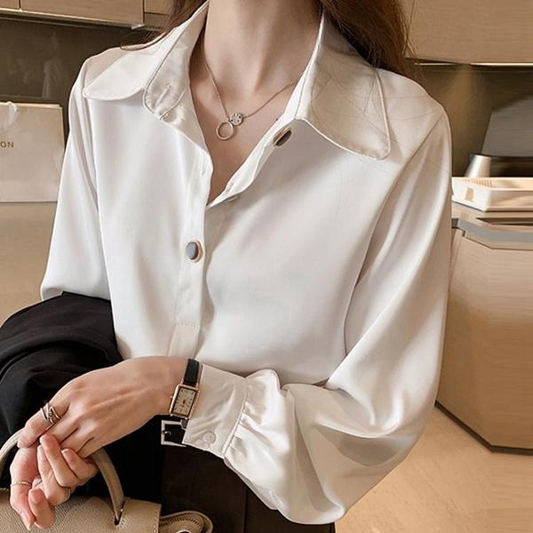 白色雪紡襯衫女職業春秋女裝寬鬆大碼長袖上衣設計感小眾襯衣 【全館免運】
