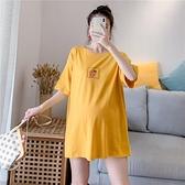 Angel媽咪~孕婦裝夏裝網紅時尚純棉洋氣中長款T恤減齡孕婦上衣潮 童趣屋