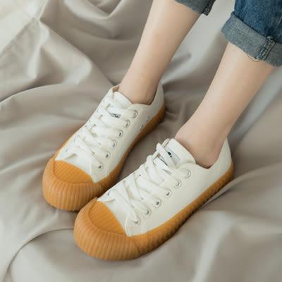 休閒鞋-工業風厚底帆布餅乾鞋(白、紅、米)-大尺碼-FM時尚美鞋-韓國精選.young