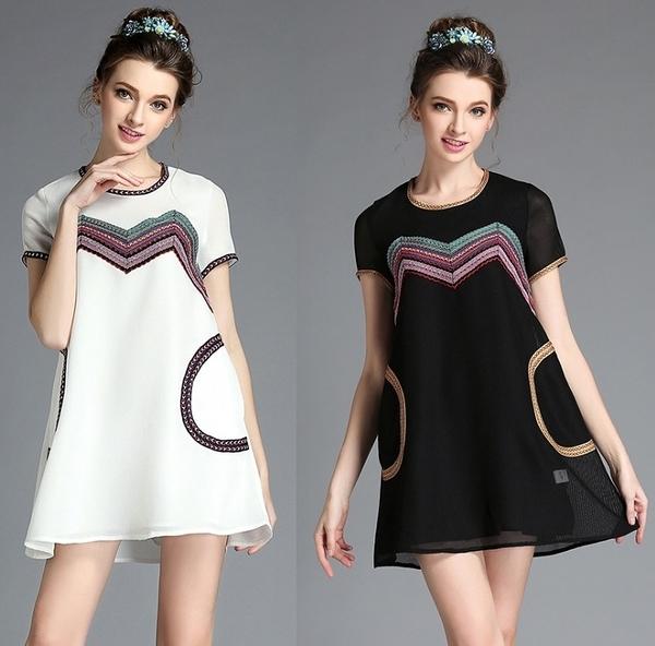 卡樂 store...小中大尺碼圓領網布織帶拼接寬鬆連身裙 2色 S-5XL #bl2299