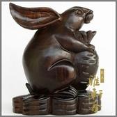 [超豐國際]紅木工藝品兔子 實木雕刻家居風水擺件 木質12十1入