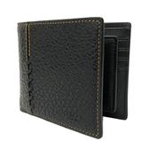 【COACH】棒球縫線牛皮8卡男款短夾附活動證件夾(黑)