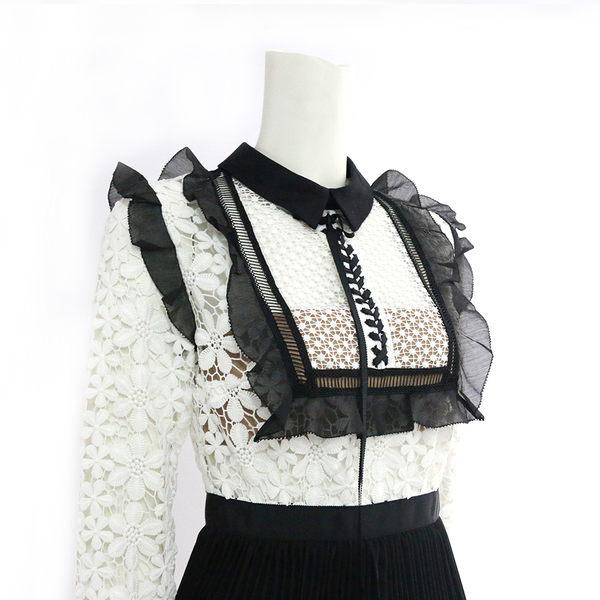 【self-portrait】黑白蕾絲長袖褶裙短洋裝 SP9045