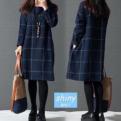 【V1326】shiny藍格子-微秋主打.大格圓領寬鬆長袖A字下擺連身裙