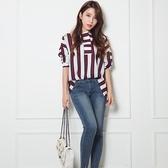 休閒長袖襯衫-時尚條紋撞色寬鬆女上衣73hs17【時尚巴黎】