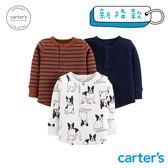 【美國 carter s】 小狗印圖3件組上衣-台灣總代理