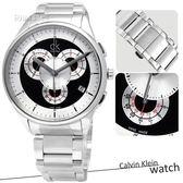 【時刻表‧CK_手錶】不敗時尚‧交疊多層次三眼計時腕錶_銀黑 〈K2A27104〉
