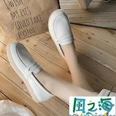 樂福鞋 單鞋女年春夏百搭一腳蹬樂福鞋白色軟底舒適防滑護士鞋潮【風之海】