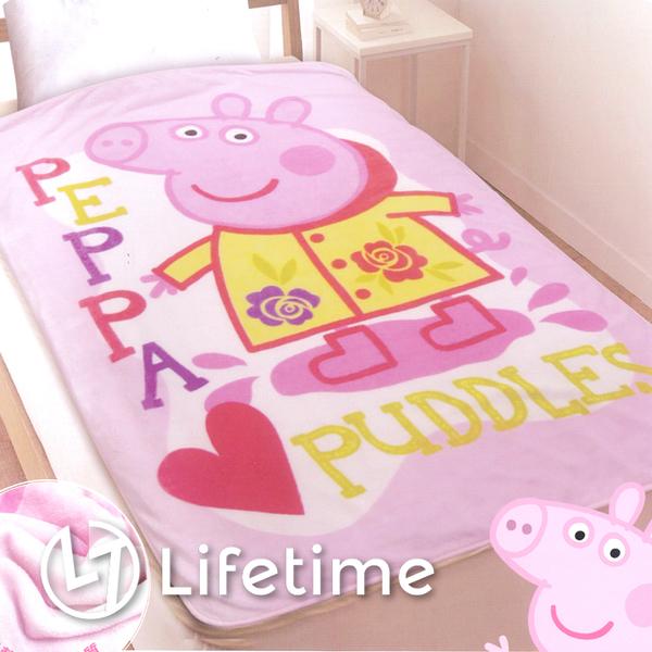 ﹝佩佩豬踩水趣法蘭絨毯﹞正版冷氣毯 小毯子 刷毛毯 粉紅豬小妹〖LifeTime一生流行館〗B16778