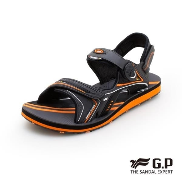 【南紡購物中心】G.P (男) 簡約男性兩用涼拖鞋-橘(另有藍、黑)