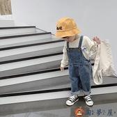 兒童牛仔背帶褲休閒褲寶寶連體長褲春秋【淘夢屋】